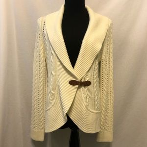 NWOT Talbots Lambswool Cable Knit Wrap Cardigan